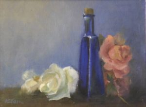 Roses with Blue Bottle, Oil on Canvas