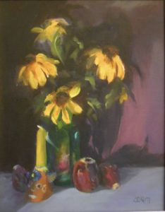 Yellow Cone Flowers with Candle Watercolor on Paper 11 x 14 $110