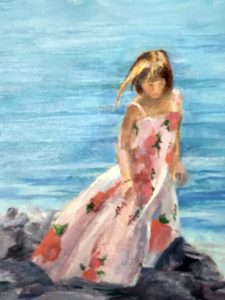 Girl on the Rocks at Miss Lucy's , St John VI Oil on Canvas Canvas Size 9 x 12 Unframed $75