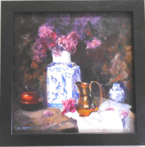 a touch of the past oil canvas12x12 frame 14x14 @90