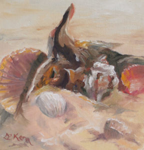On the Beach 2 6 x 6 oil on wrapped canvas with painted sides (no need to frame) $35