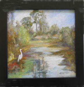 Deepdale Pond oil canvas 10x10 frame 12x12 $80