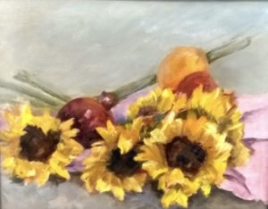 Sunflowers and Pomegranate 11 x 14 $110